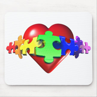 Heart Puzzle Links Mouse Pad