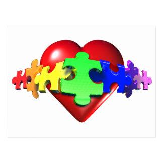 Heart Puzzle Links Postcard
