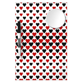 Heart queens pattern dry erase board with mirror