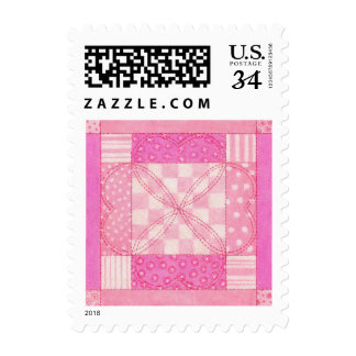 Heart Quilt Block Small Postcard Stamps