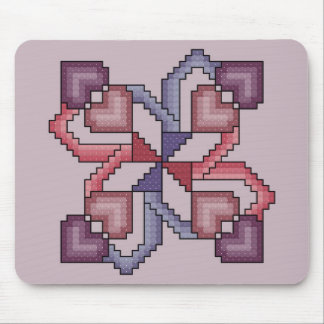 Heart Quilt Square Cross Stitch Mousepad