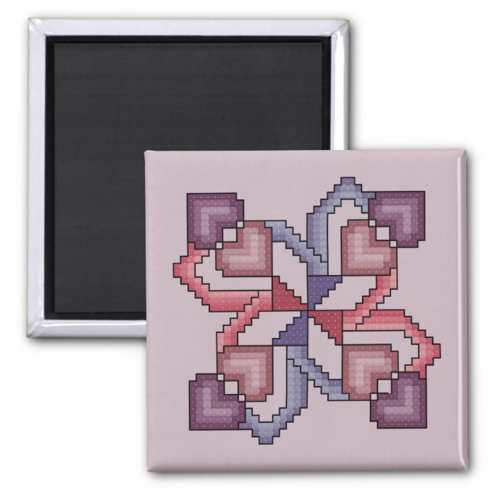 Heart Quilt Square cross stitch pattern 2 Inch Square Magnet