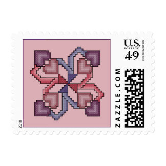 Heart Quilt Square Cross Stitch Pink Stamp