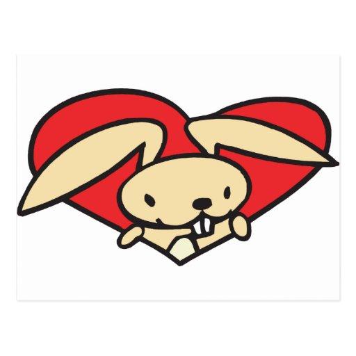 Heart Rabbit Postcard