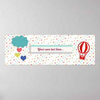 Heart Rain Baby Shower Children Room Poster Banner