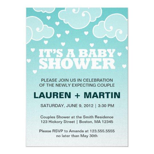 Heart Rain Baby Shower Invitation