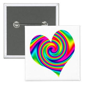 Heart Rainbow Twirl Pinback Button
