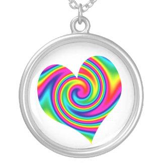 Heart Rainbow Twirl Round Pendant Necklace