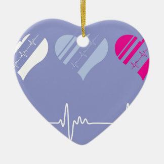 Heart Rate vector Ceramic Ornament