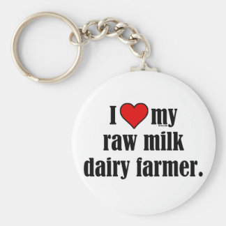 Heart Raw Milk Farmer Basic Round Button Keychain