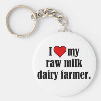 Heart Raw Milk Farmer Keychains