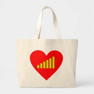 Heart receipt signal strength heart reception sign tote bags