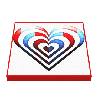 Heart Red Blue Gallery Wrap Canvas