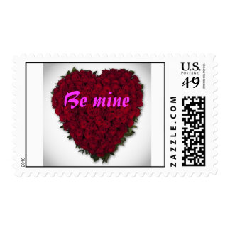 heart-red rose, Be mine card Stamp