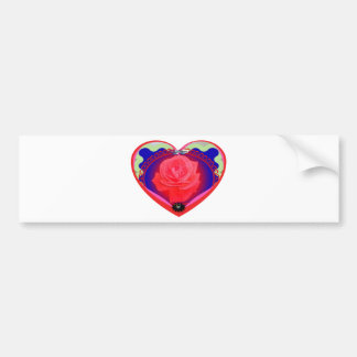 heart red rose bumper stickers