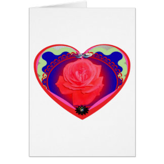 heart red rose card