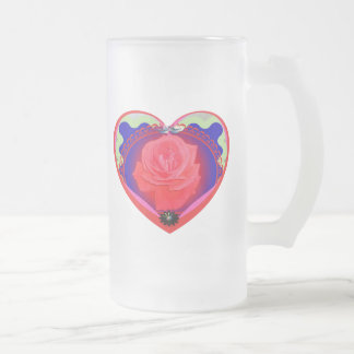 heart red rose frosted glass beer mug
