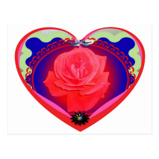 heart red rose postcard