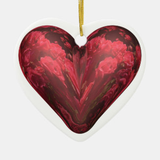 heart red roses Double-Sided heart ceramic christmas ornament