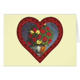 Heart Red Yellow Flowers Vase Painting Blank Card