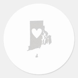 Heart Rhode Island state silhouette Classic Round Sticker