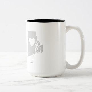 Heart Rhode Island state silhouette Two-Tone Coffee Mug