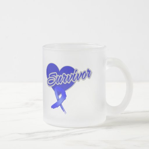Heart Ribbon - Anal Cancer Survivor 10 Oz Frosted Glass Coffee Mug