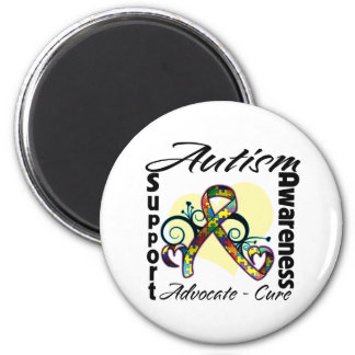 Heart Ribbon - Autism Awareness 2 Inch Round Magnet