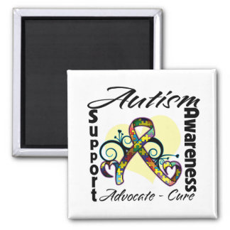 Heart Ribbon - Autism Awareness 2 Inch Square Magnet