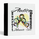 Heart Ribbon - Autism Awareness 3 Ring Binder
