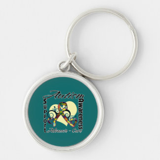 Heart Ribbon - Autism Awareness Silver-Colored Round Keychain