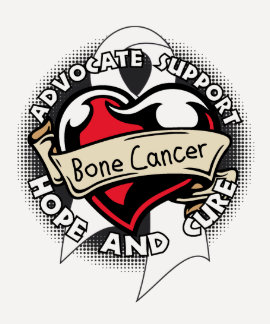 Heart Ribbon - Bone Cancer T Shirt