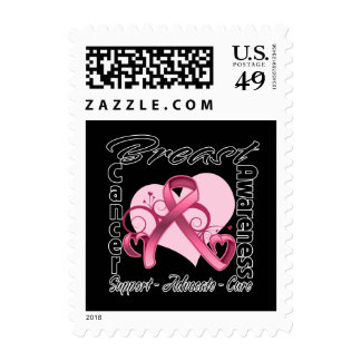 Heart Ribbon - Breast Cancer Awareness Postage