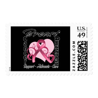 Heart Ribbon - Breast Cancer Awareness Postage Stamp