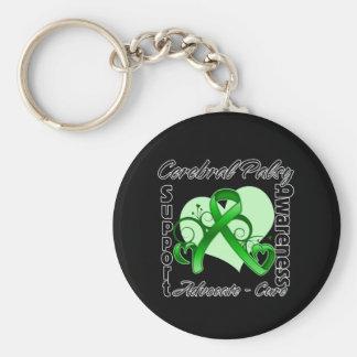 Heart Ribbon - Cerebral Palsy Awareness Basic Round Button Keychain