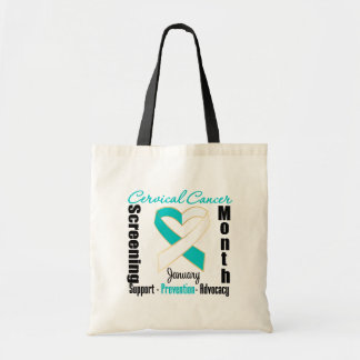 Heart Ribbon Cervical Cancer Screening Month Canvas Bags