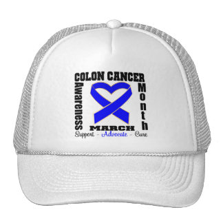 Heart Ribbon - Colon Cancer Awareness Month Trucker Hats