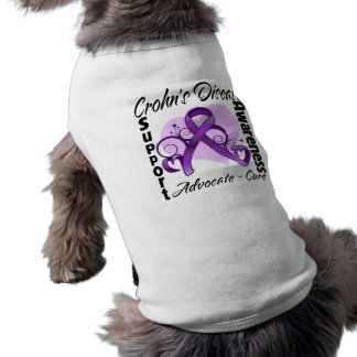 Heart Ribbon - Crohn's Disease Awareness Doggie Tee Shirt