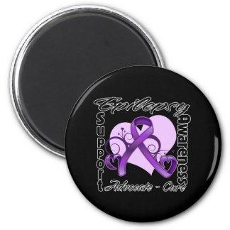 Heart Ribbon - Epilepsy Awareness Magnets