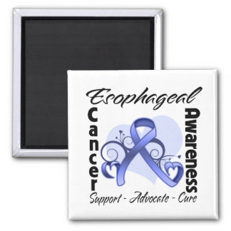 Heart Ribbon - Esophageal Cancer Awareness 2 Inch Square Magnet