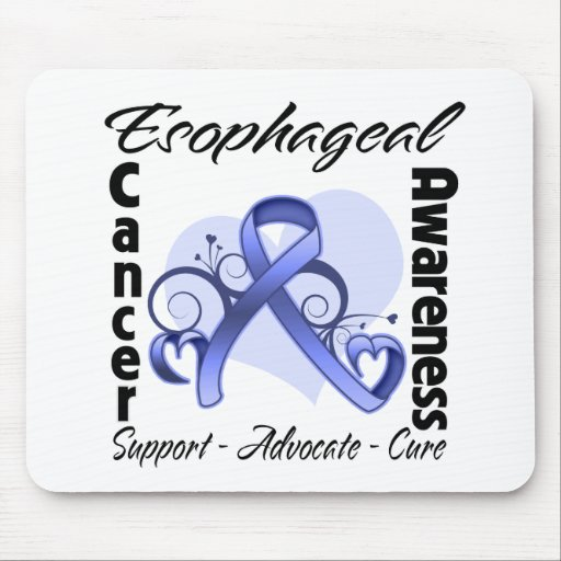 Heart Ribbon - Esophageal Cancer Awareness Mouse Pads