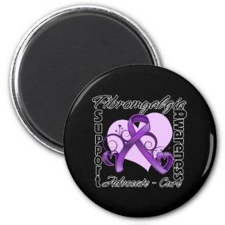 Heart Ribbon - Fibromyalgia Awareness 2 Inch Round Magnet