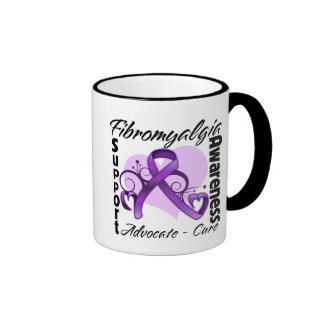 Heart Ribbon - Fibromyalgia Awareness Ringer Coffee Mug