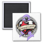 Heart Ribbon - General Cancer Magnets