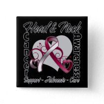 Heart Ribbon - Head and Neck Cancer Awareness Pinback Button