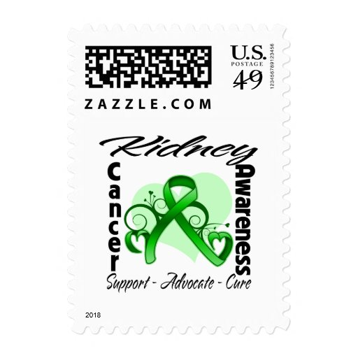 Heart Ribbon - Kidney Cancer Awareness Stamps