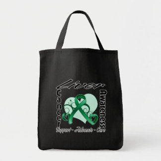 Heart Ribbon - Liver Cancer Awareness Canvas Bag