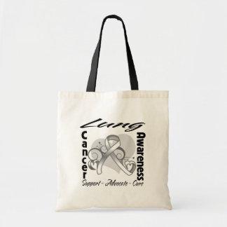 Heart Ribbon - Lung Cancer Awareness Budget Tote Bag