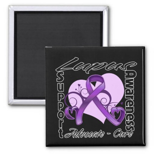 Heart Ribbon - Lupus Awareness Magnets