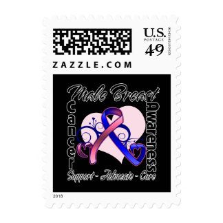 Heart Ribbon - Male Breast Cancer Awareness Postage